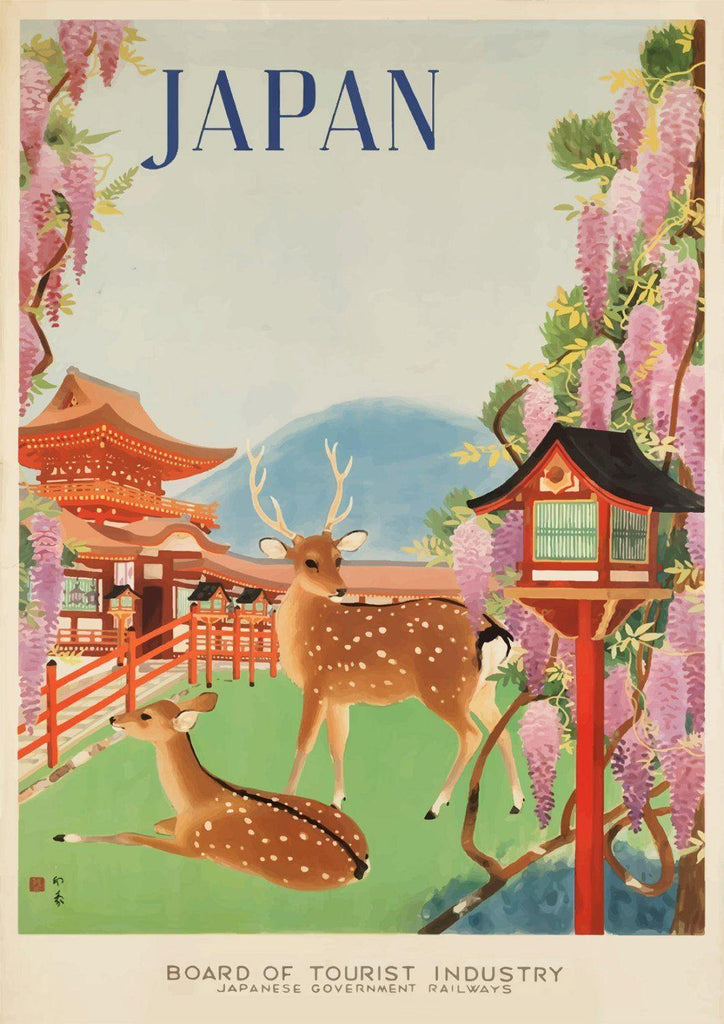 JAPAN TRAVEL POSTER: Vintage Japanese Deer Advert Print