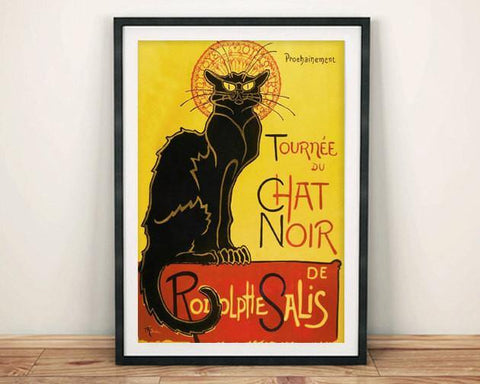 BLACK CAT POSTER: Vintage Chat Noir Advert Art Print - The Print Arcade