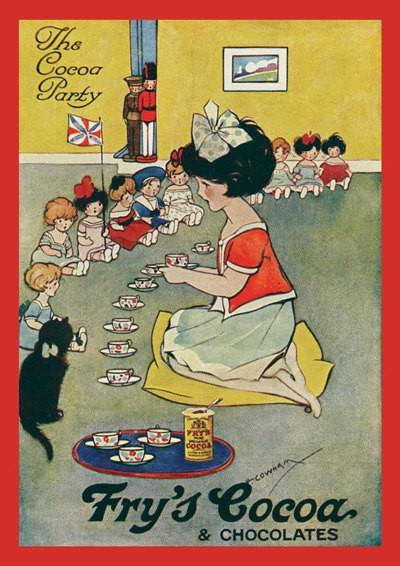 CHOCOLATE PARTY POSTER: Vintage Fry's Cocoa Advert, Children Art Print - The Print Arcade