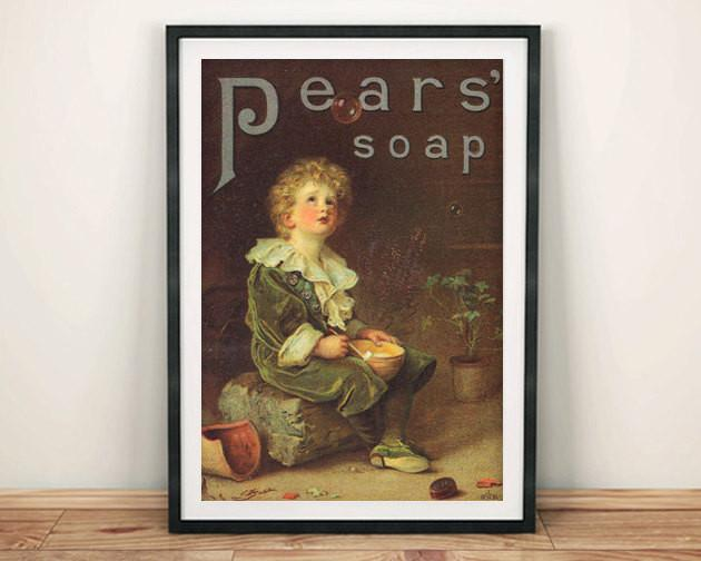 PEARS SOAP POSTER: Vintage Washing Advert Art Print - The Print Arcade