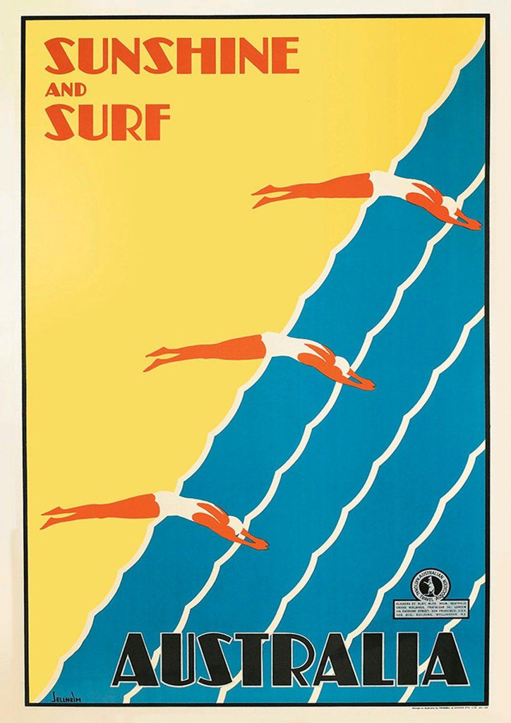 AUSTRALIAN SURF POSTER: Vintage Beach Travel Advert - The Print Arcade