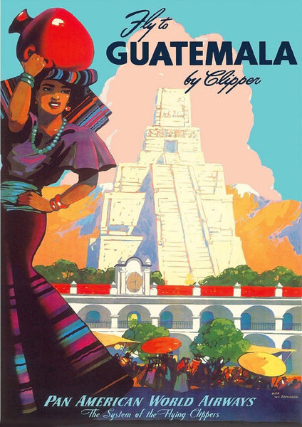 GUATEMALA TRAVEL POSTER: Vintage Mayan Advert Print - The Print Arcade