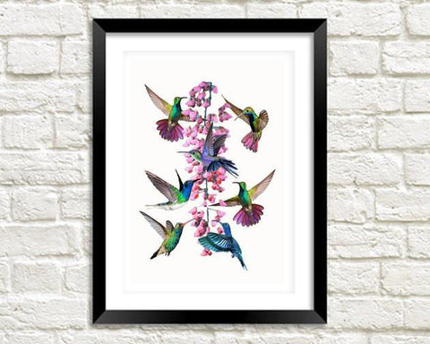 HUMMINGBIRDS ART PRINT: Vintage Birds and Pink Flower - The Print Arcade