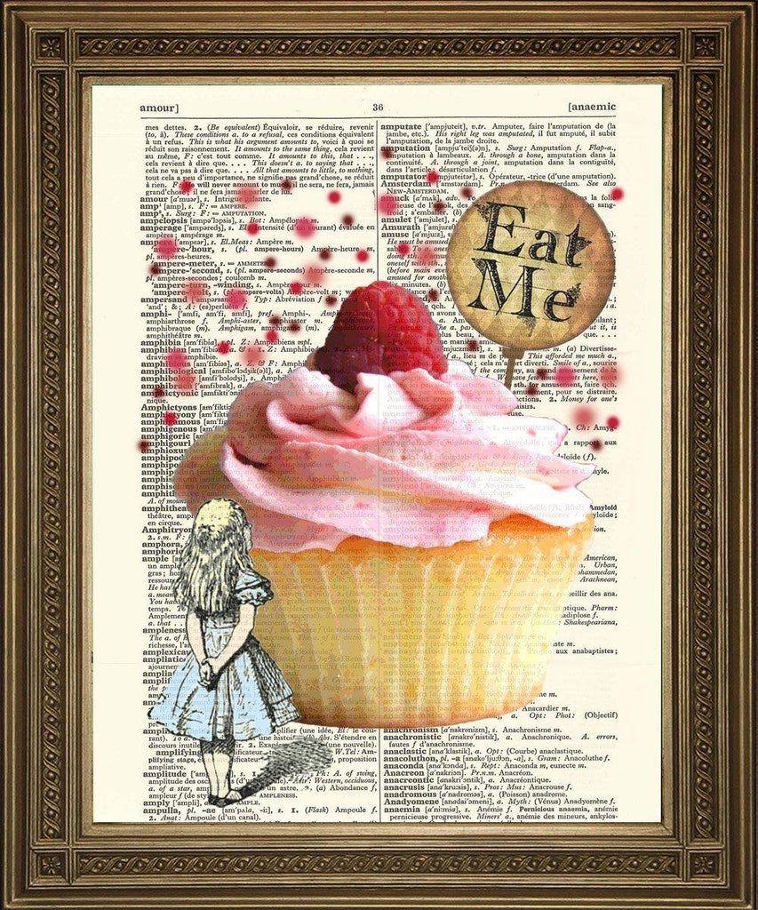 ALICE 'EAT ME' PRINT: Alice in Wonderland Cake Dictionary Art - The Print Arcade