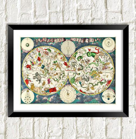 CONSTELLATIONS MAP PRINT: Star Signs Cartography Art - The Print Arcade