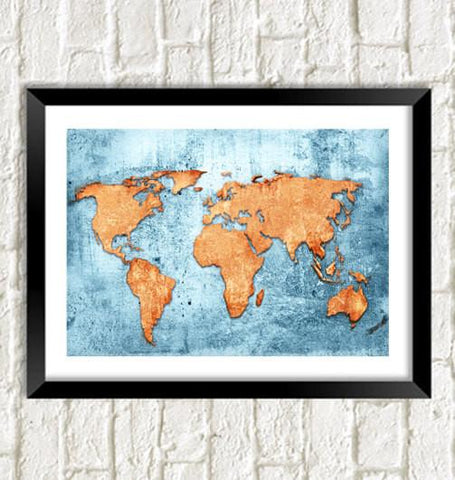 MAP PRINT: World Art Illustration Wall Hanging - The Print Arcade
