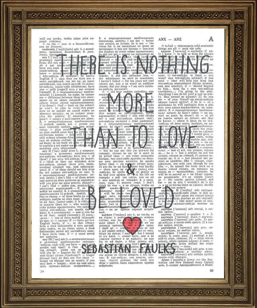 LOVE QUOTATION PRINT: Sebastian Faulks Dictionary Page Art - The Print Arcade