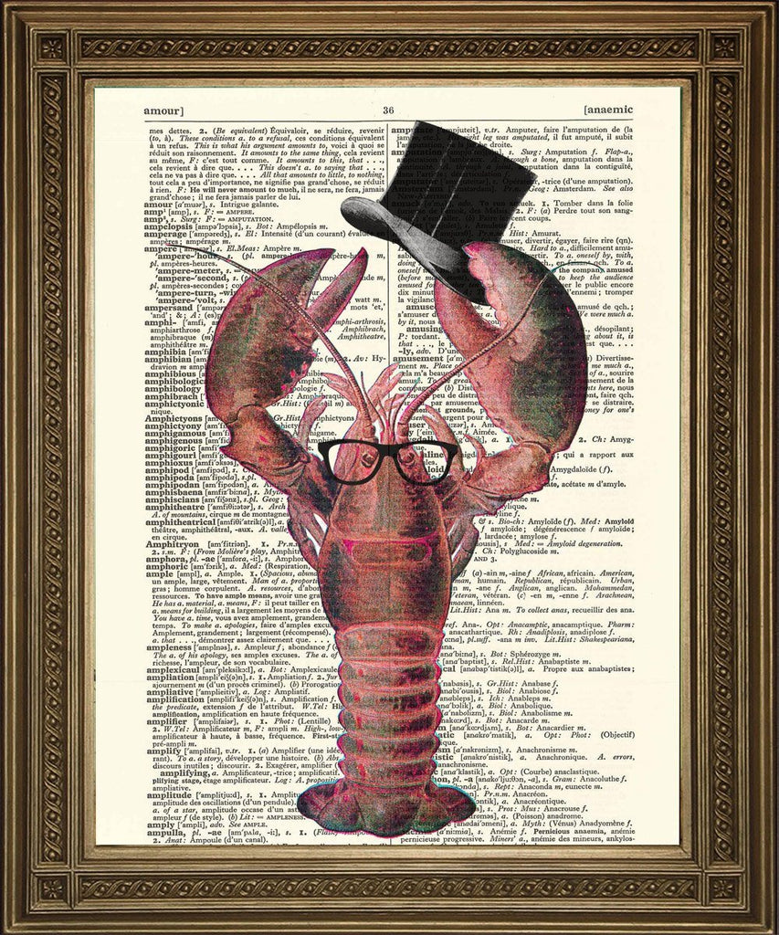 LOBSTER: Vintage Crustacean Dictionary Art Print - The Print Arcade