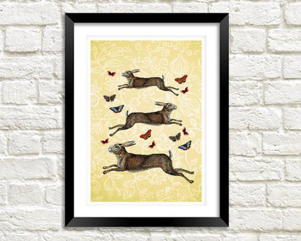 HARES & BUTTERFLIES PRINT: Vintage March Hares Leaping - The Print Arcade