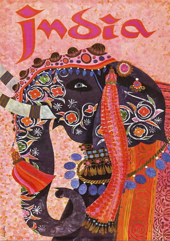 INDIAN TRAVEL POSTER: Vintage Elephant Advert Art Print