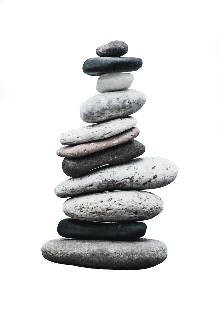 STACKED PEBBLES PRINT: Stones Art Photograph