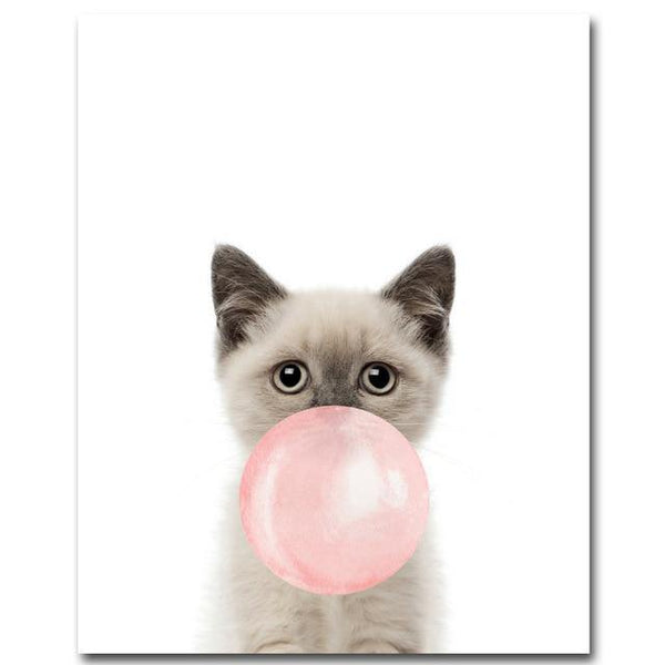 CUTE ANIMAL PRINTS: Children's Bubblegum Canvas Wall Posters - The Print Arcade
