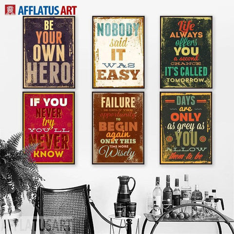 MOTIVATIONAL POSTERS: Proverbs and Sayings Typography Canvas Wall Art