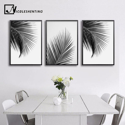 PALM LEAF PRINTS: Black and White Modern Canvas Wall Art