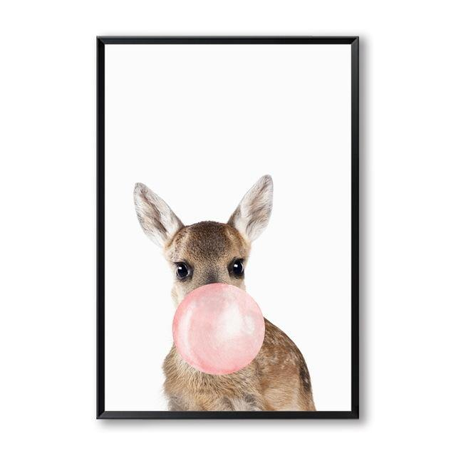 BUBBLEGUM ANIMAL PRINTS: Cute Animals Blowing Pink Bubbles, Girl Canvas Art Prints - The Print Arcade