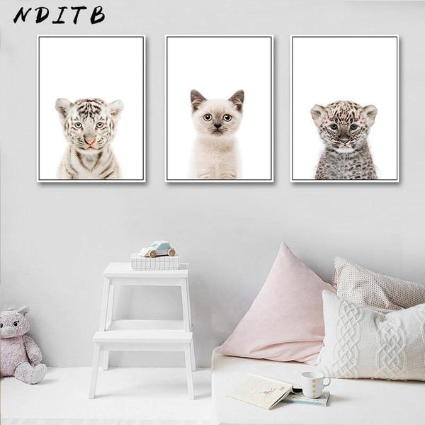 BABY ANIMAL ART: Tiger, Leopard, Panda, Koala, Child's Bedroom Prints - The Print Arcade