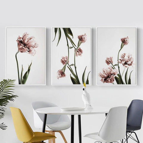 PINK FLOWER PRINTS: Minimalist Scandi-style Blush Floral Canvas Art