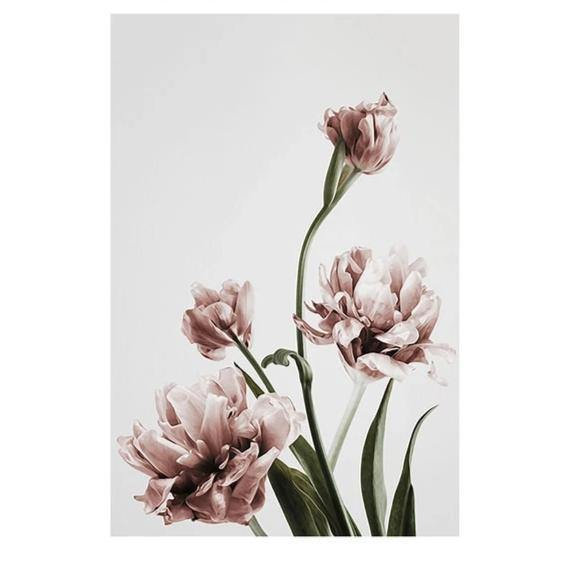 PINK FLOWER PRINTS: Minimalist Scandi-style Blush Floral Canvas Art - The Print Arcade