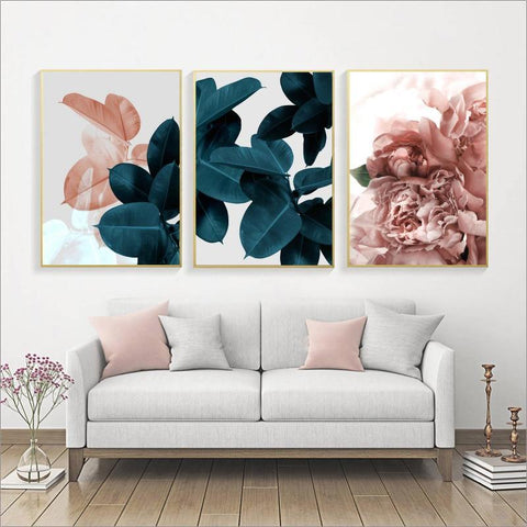 CONTEMPORARY PLANT PRINTS: Floral Leaf Canvas Art Wall Hangings