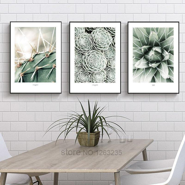 CACTUS PRINTS: Stylish Green Canvas Photo Art - The Print Arcade
