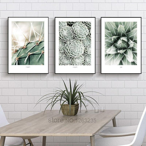 CACTUS PRINTS: Stylish Green Canvas Photo Art