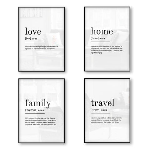 WORD DEFINITION PRINTS: Wall Art Quotes Canvas Posters