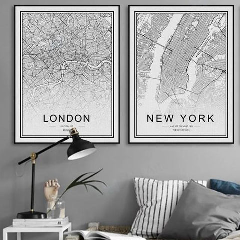 WORLD CITY MAPS: London, New York, Paris, and More, Canvas Wall Art Prints