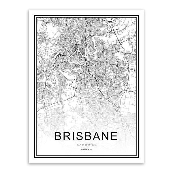 WORLD CITY MAPS: London, New York, Paris, and More, Canvas Wall Art Prints - The Print Arcade