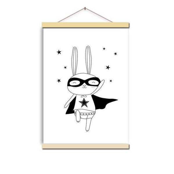 BUNNY SUPERHERO PRINT: Children's Rabbit Nursery Wall Art - The Print Arcade