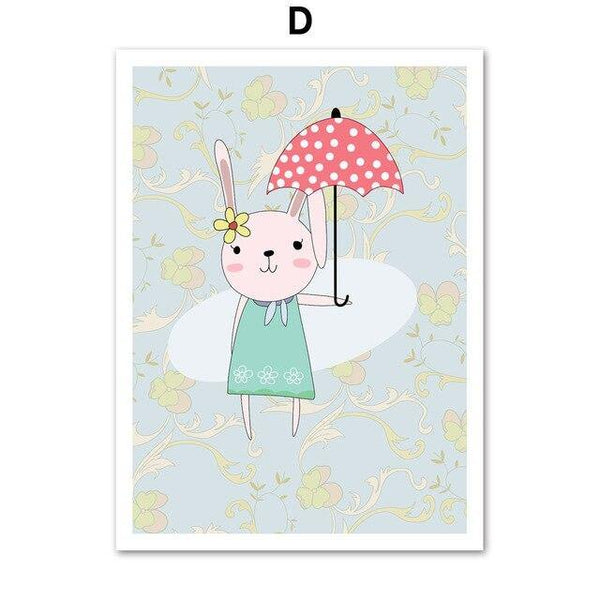 RABBIT BALLOON PRINTS: Children's Bedroom Animal Wall Art - The Print Arcade