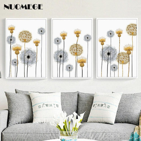 DANDELION PRINTS: Abstract Flowers Scandi Style Canvas Art