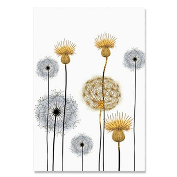 DANDELION PRINTS: Abstract Flowers Scandi Style Canvas Art - The Print Arcade
