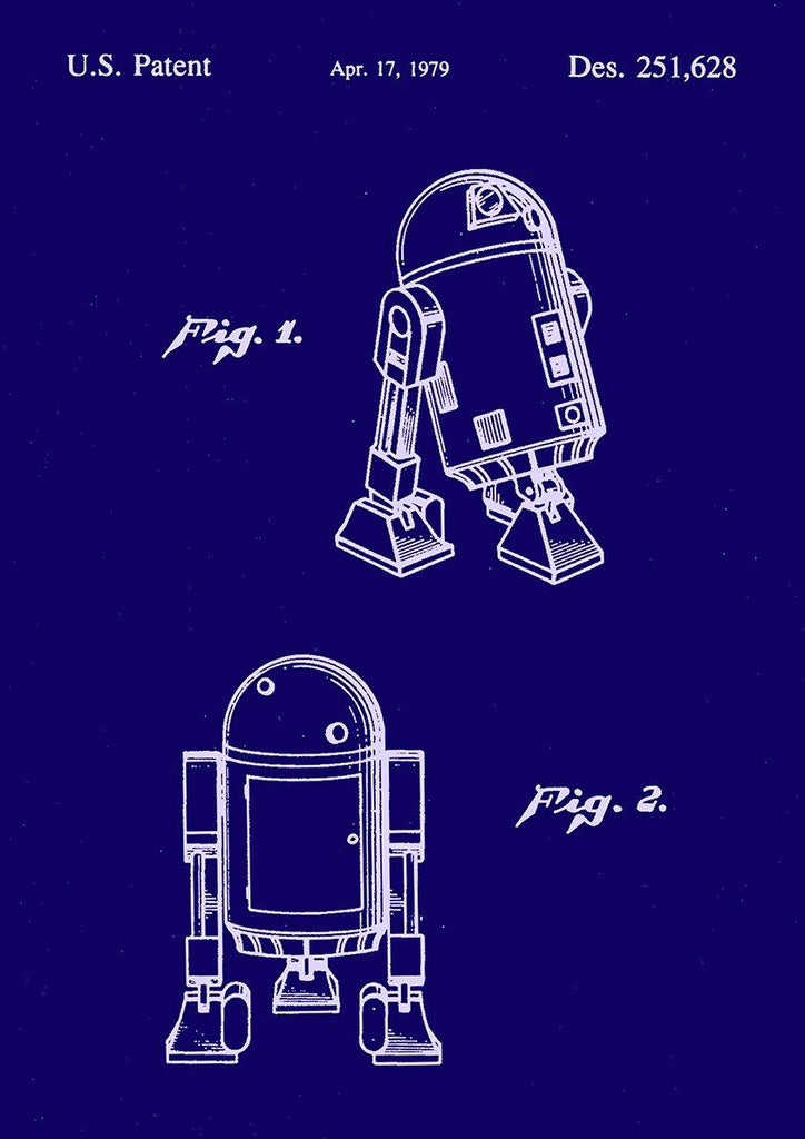 R2-D2 PRINT: Star Wars Patent Design Artwork Poster - The Print Arcade