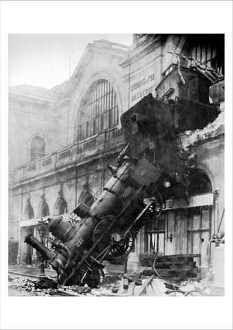 TRAIN WRECK: Black and White Photography Print - The Print Arcade