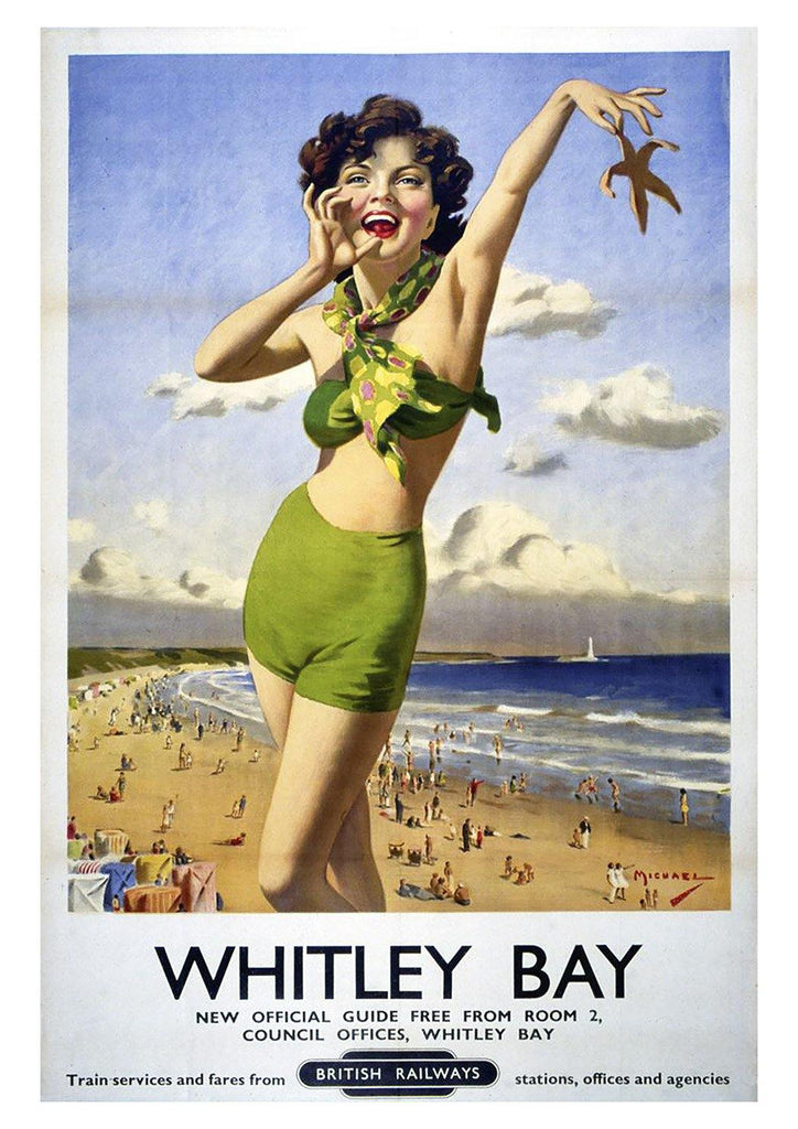 WHITLEY BAY POSTER: Vintage Seaside Holiday Advert
