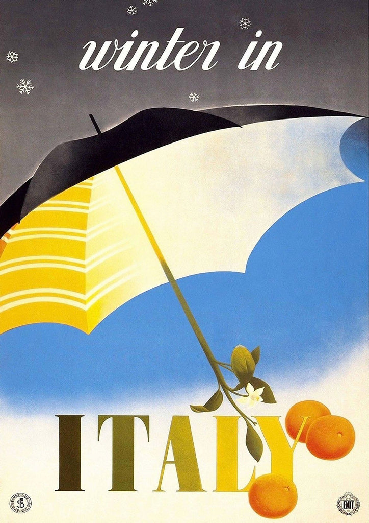 WINTER IN ITALY POSTER: Vintage Italian Travel Advert Print - The Print Arcade