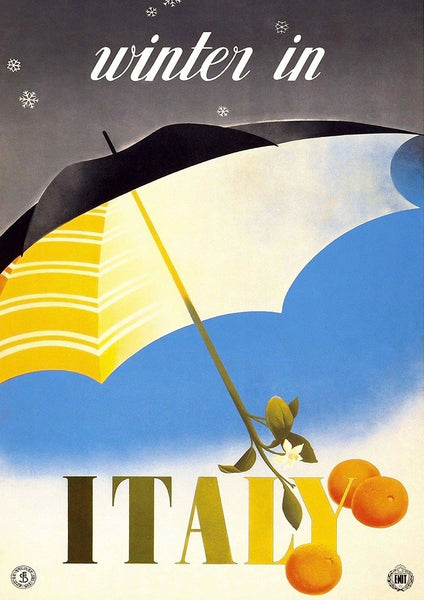 WINTER IN ITALY POSTER: Vintage Italian Travel Advert Print