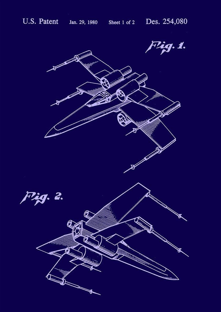 X-WING PRINT: Star Wars Toy Patent Design Poster - The Print Arcade