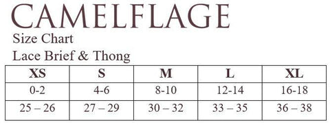 Camelflage Lace Thong Size Chart