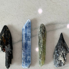 Kyanite Crystals - cutting cords with crystals