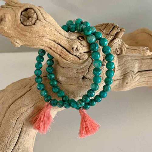 African Turquoise Tassel Bracelet - Kristen Lemoine - Palm Beach Athletic Wear
