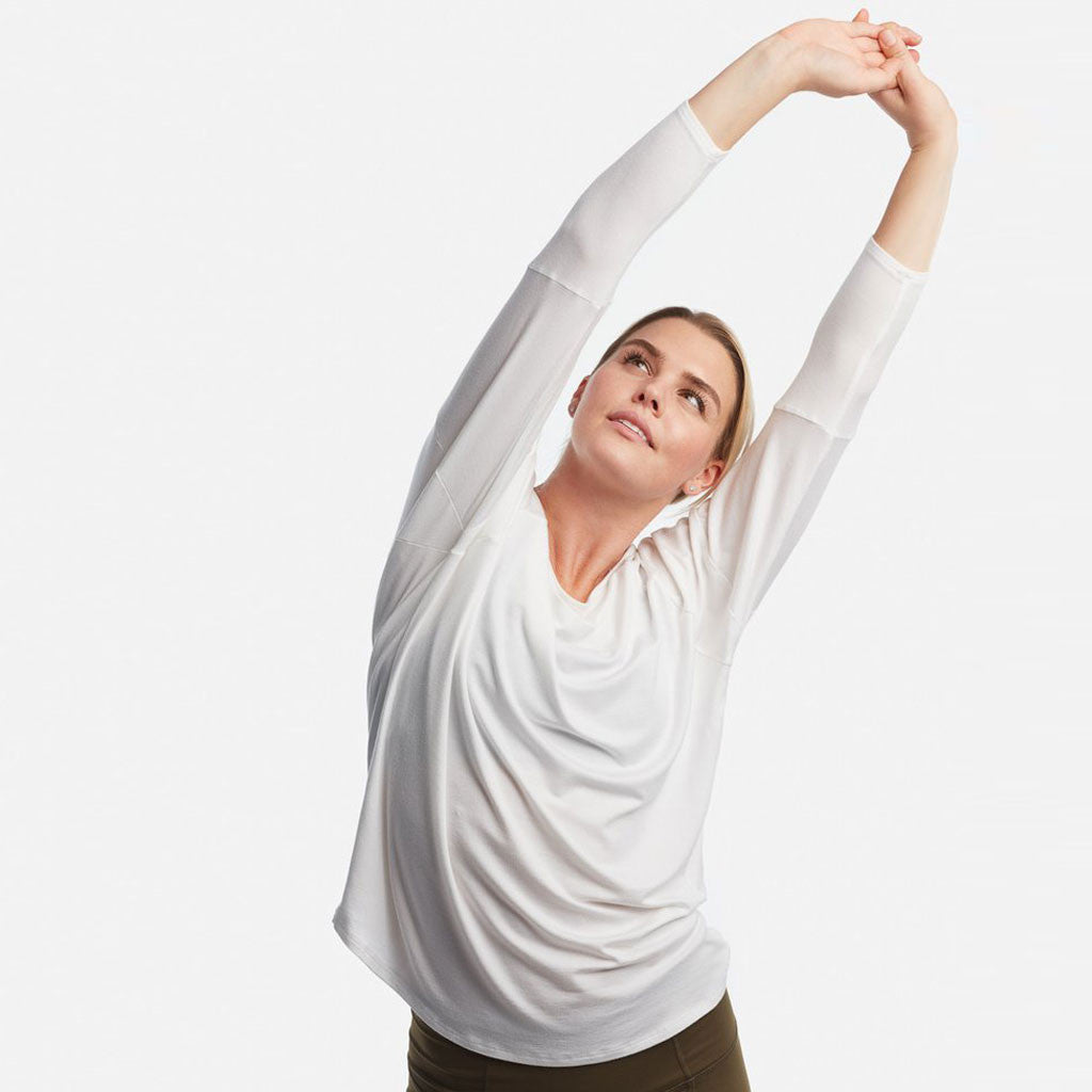 The perfect white long sleeve top for yoga.