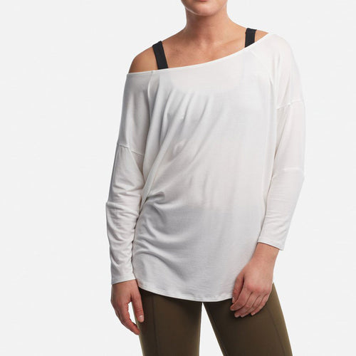 White off the shoulder soft long sleeve coverup top by Haven.