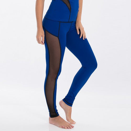 Nautical blue Wisdom Legging with side black mesh panels by Bluefish Sport.