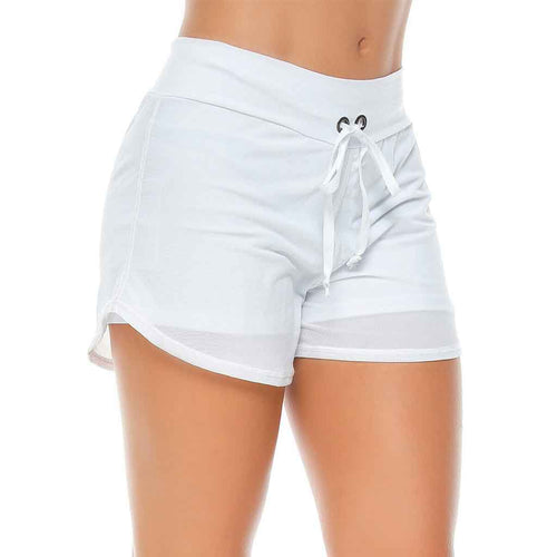 White running shorts with mesh outer layer and adjustable waistband.