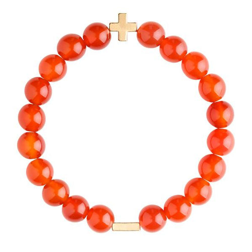 Charged Carnelian & Gold Elastic Bracelet - Charged - Palm Beach Athletic Wear