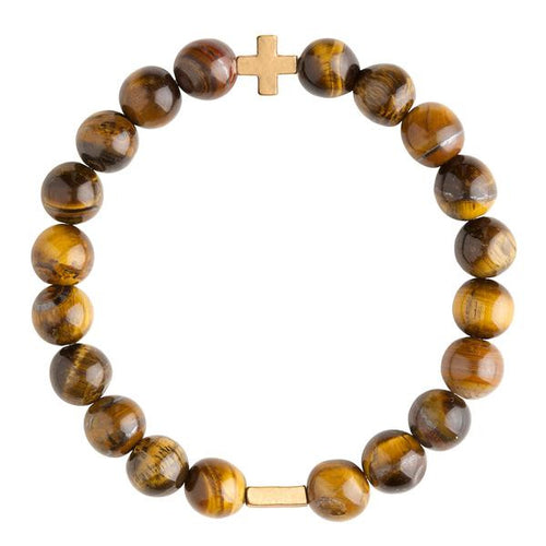Tiger's Eye & Gold Elastic Bracelet - Charged - Palm Beach Athletic Wear