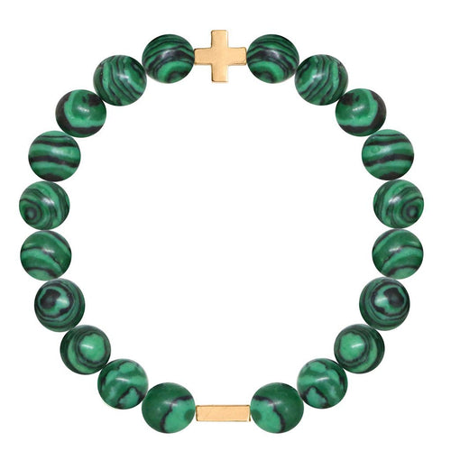 Malachite & Gold Elastic Bracelet - Charged - Palm Beach Athletic Wear