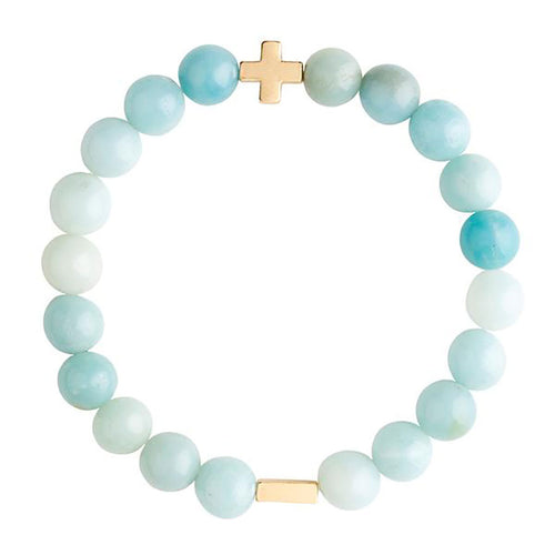 Amazonite & Gold Elastic Bracelet - Charged - Palm Beach Athletic Wear