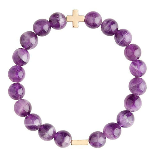 Amethyst & Gold Bracelet charged in a Sedona Vortex. Amethyst is said to bring inner strength to the wearer.